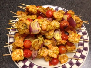 Shrimp Curry Kabobs
