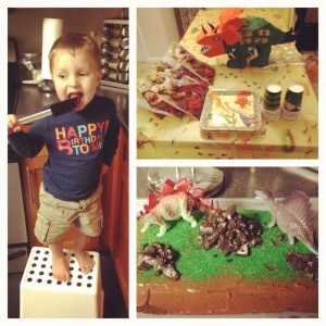 Last year (3rd bday) his party was Dinosaur Themed and we made this super easy cake with figurines on top.