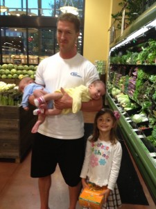 James with his adorable 5-year old and newborn twins!