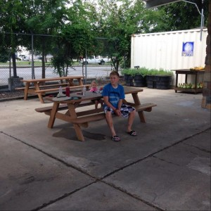 These picnic benches and also the swinging benches (not pictured) are all made from recycled milk jugs!